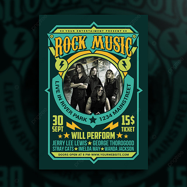 rock music poster template for free download on pngtree