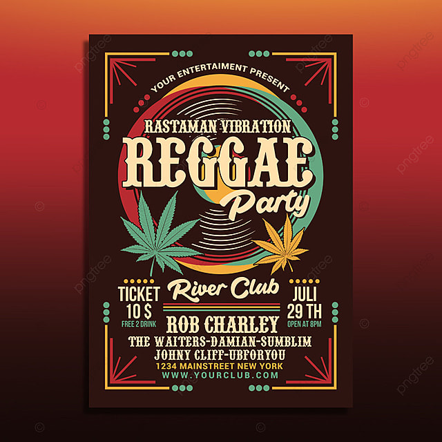 reggae music party poster template for free download on