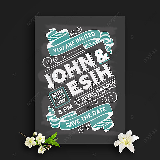 chalk board style wedding invitation template for free download on