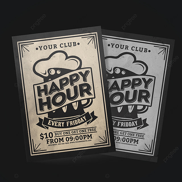 Happy Hour Vintage Flyer Template For Free Download On Pngtree
