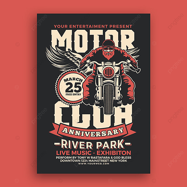 motorcycle club event poster template for free download on pngtree