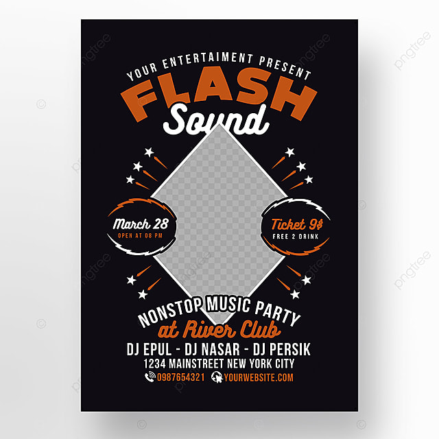 Flash Sound Disco Music Party Poster Template for Free