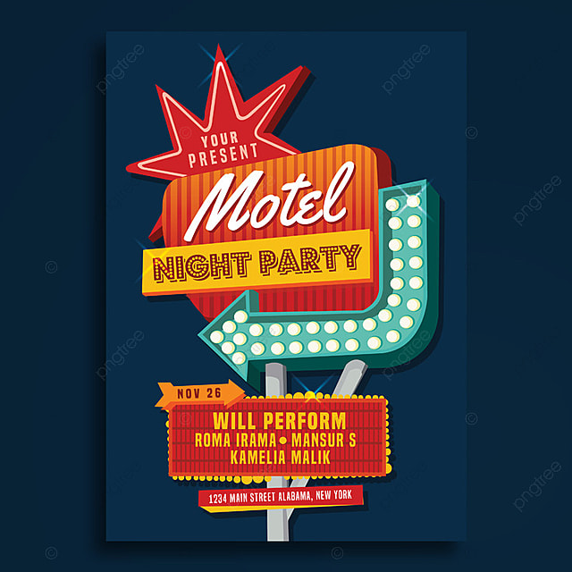 motel sign party poster template for free download on pngtree