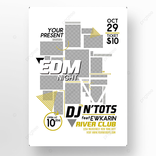 EDM Night Party Poster Template for Free Download on Pngtree