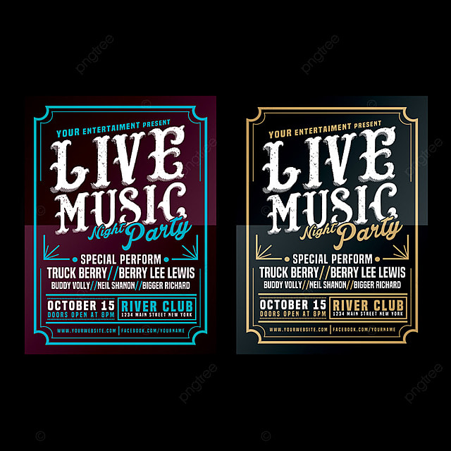Live Music Typography Poster Flyer Template For Free Download On Pngtree