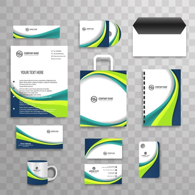 abstract business stationery set design vector template for free