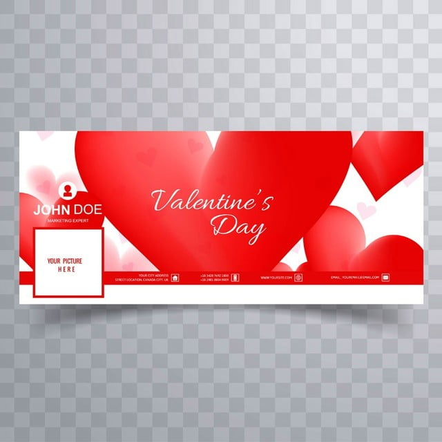 Abstract Valentine S Day Facebook Cover Template For Free Download