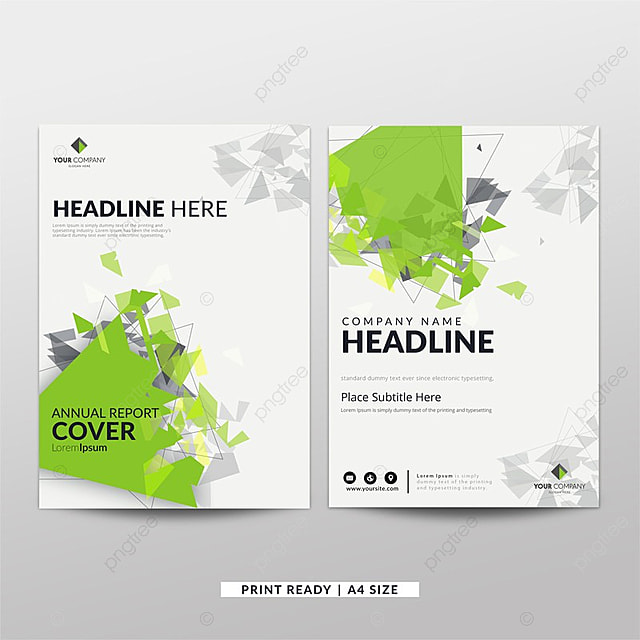 green abstract corporate annual report template for free download on