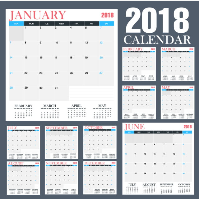 Desk Calendar 2018 Template For Free Download On Pngtree