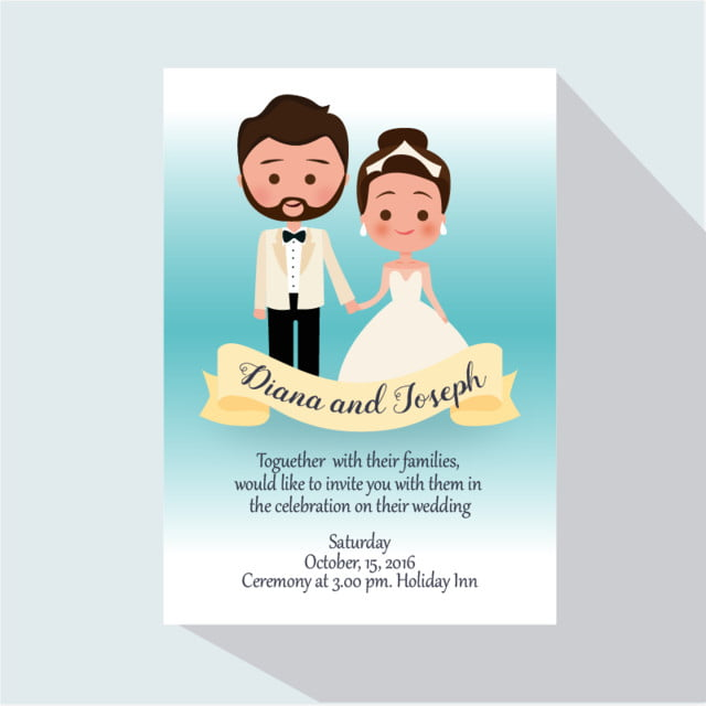Cartoon Wedding Invitation Template For Free Download On Pngtree