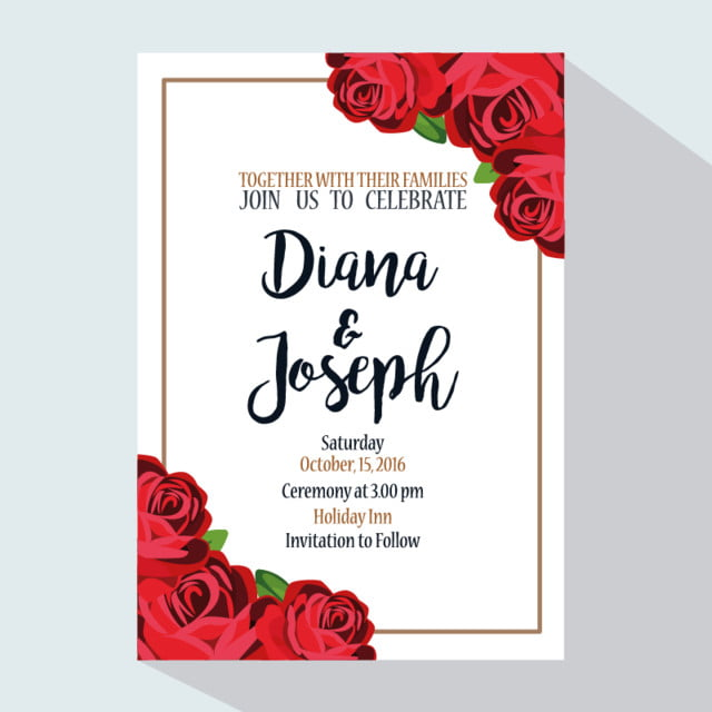 wedding invitation with red roses template for free download on pngtree
