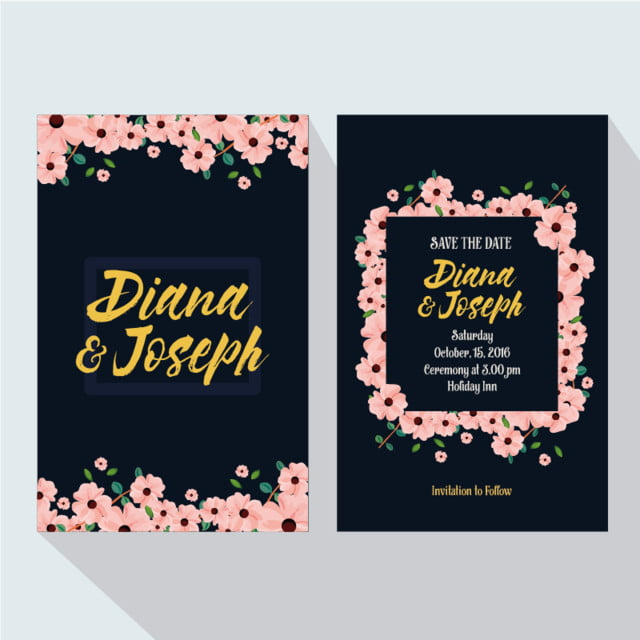 Wedding Invitation flowers pink