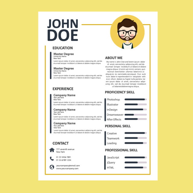 cv template job yellow template for free download on pngtree