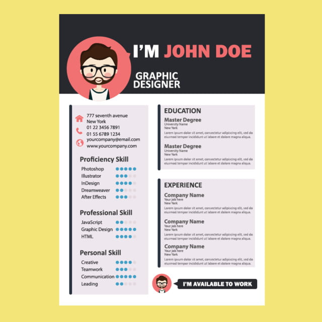 CV Template Job Cute