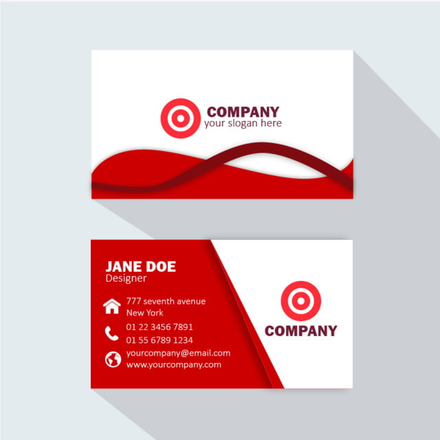 modern professional business card red template for free download on
