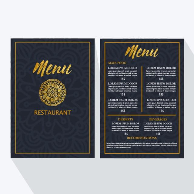 Menú moderno restaurante Mandala