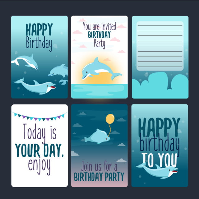 Invitation Birthday Dolphin Template for Free Download on Pngtree