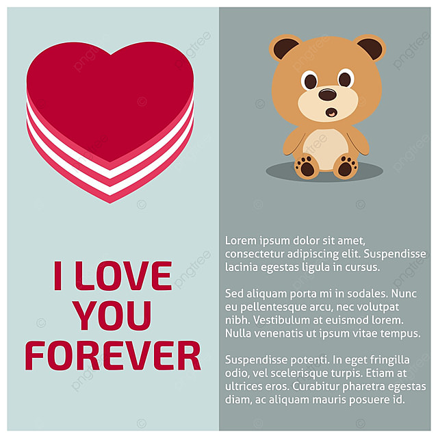 i love you forever card with teddy bear and heart template for free