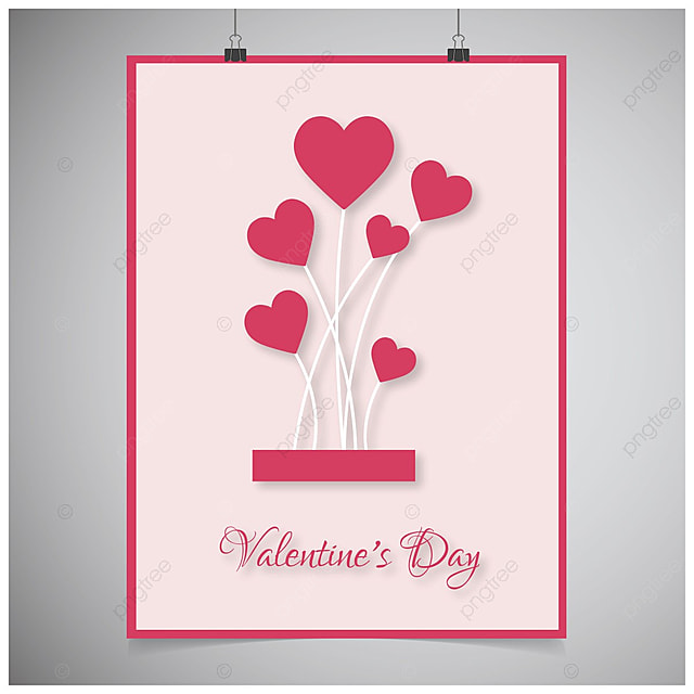 Valentine's card with pink ballons Template for Free ...