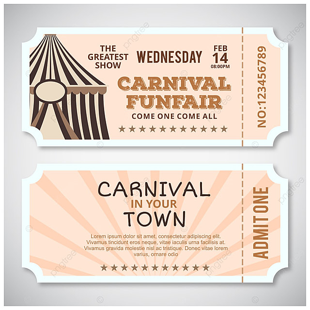 carnival fun fair ticket design vector template for free