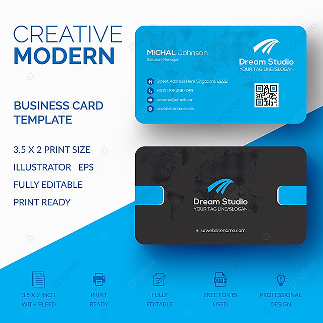 Modern Business Card Template For Free Download On Pngtree - Editable business card templates free