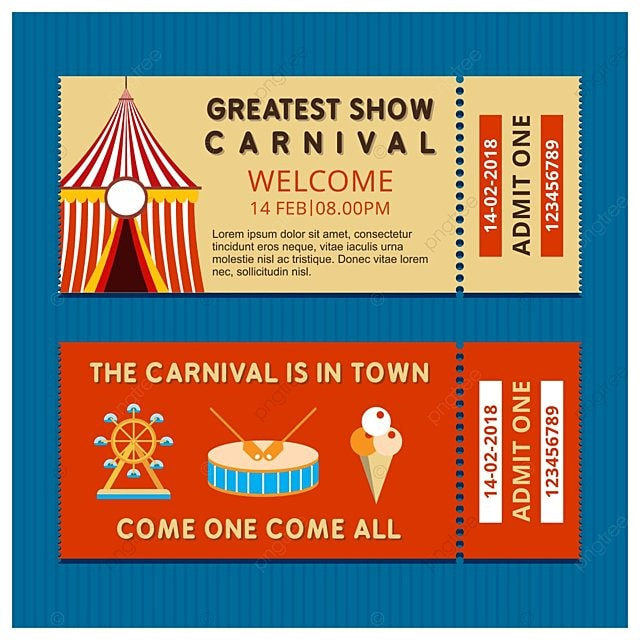 Carnival ticket with light background