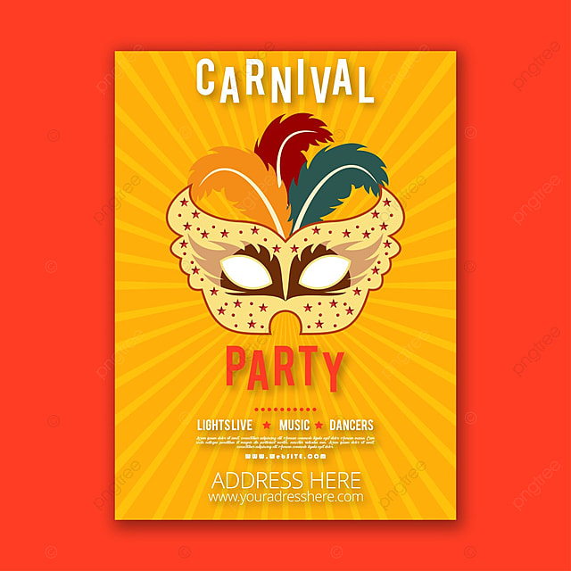 carnival poster with orange background template for free download on