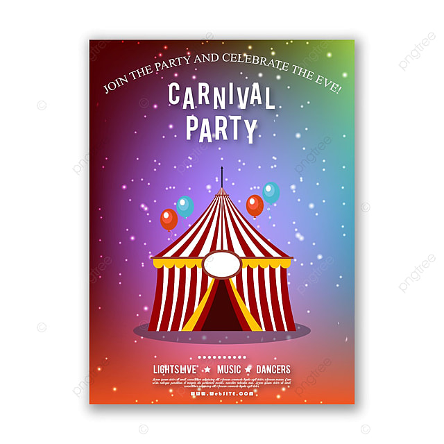 carnival party invitation with pattern background template for free