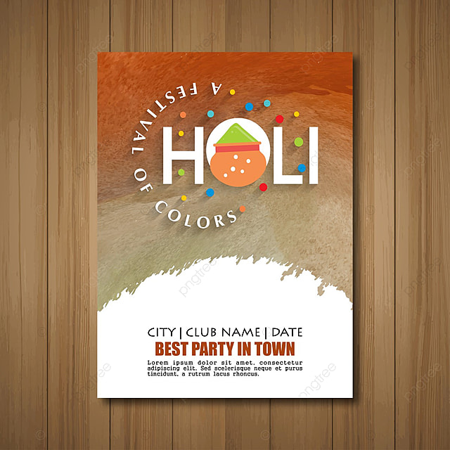 Holi Invitation Card With Vintage Background Template For