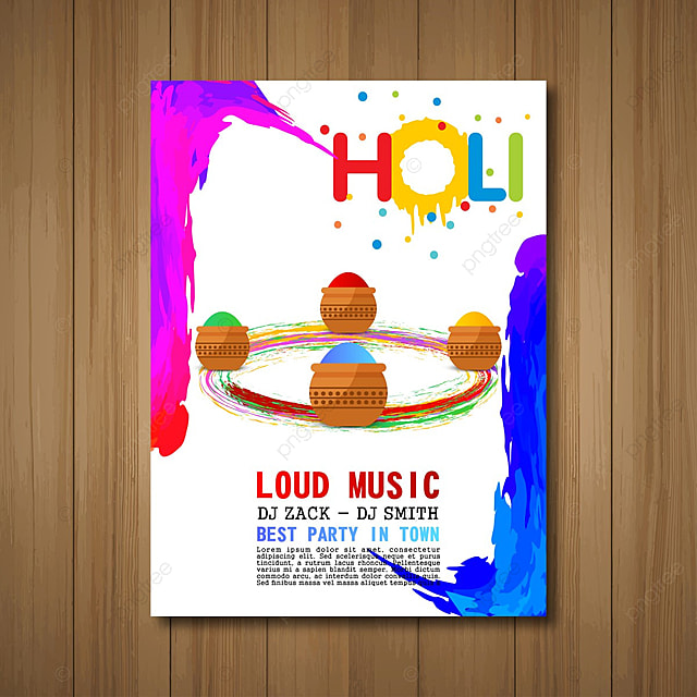 Holi Invitation Card With Wooden Background Template For