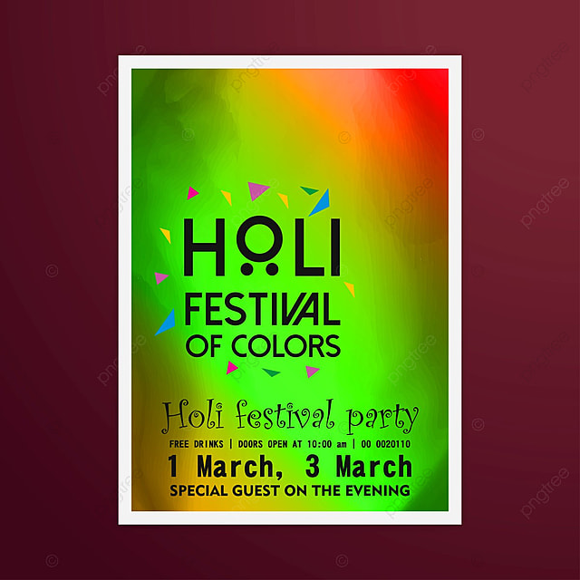 Holi Party Invitation With Red Background Template For Free
