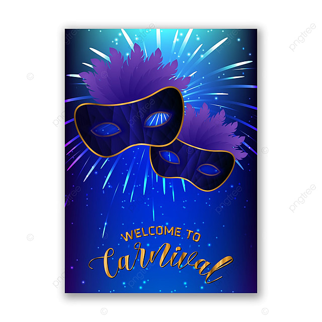 carnival welcome card with dark blue background template for free