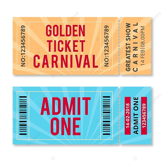 golden ticket carnival vector template for free download on pngtree