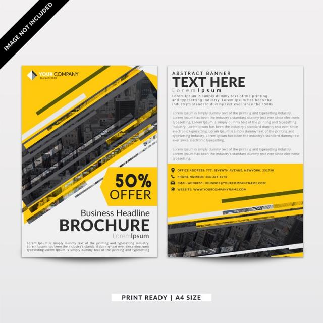 Yellow And Dark Grey Corporate Brochure Design Template Template For