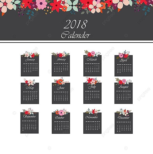 calendrier 2018  u00e0 motif floral mod u00e8le de t u00e9l u00e9chargement