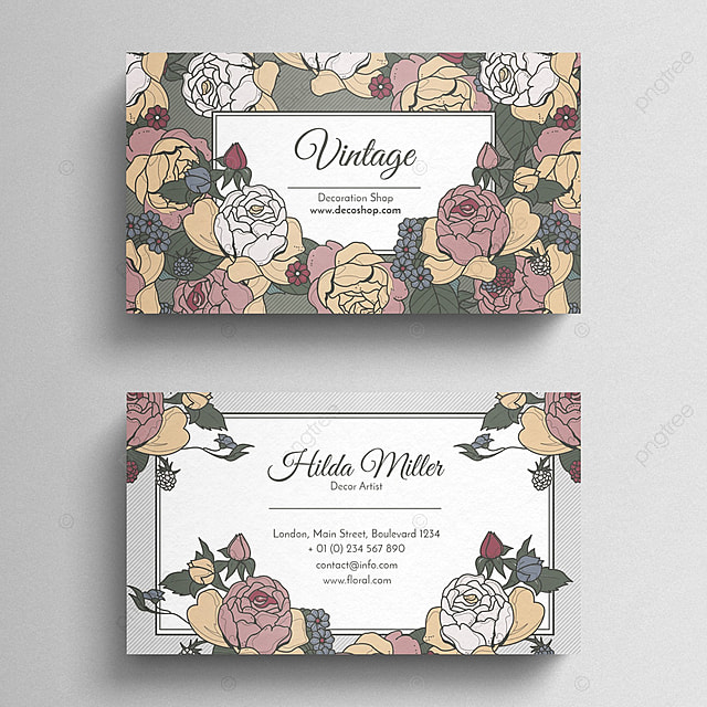 vintage floral business card template for free download on