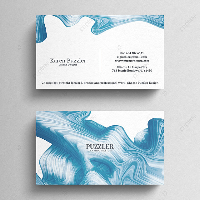 Blue watercolor business card Template for Free Download on Pngtree