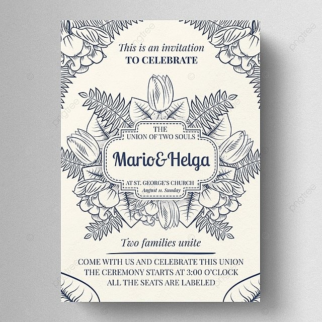 vintage wedding invitation template for free download on pngtree
