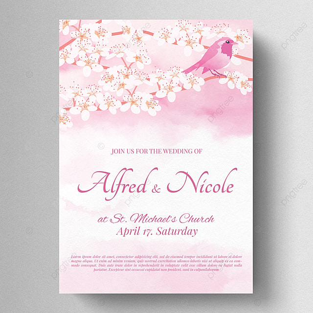 peach blossom wedding invitation template for free download on pngtree