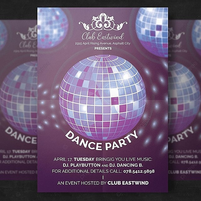 dance party flyer template for free download on pngtree
