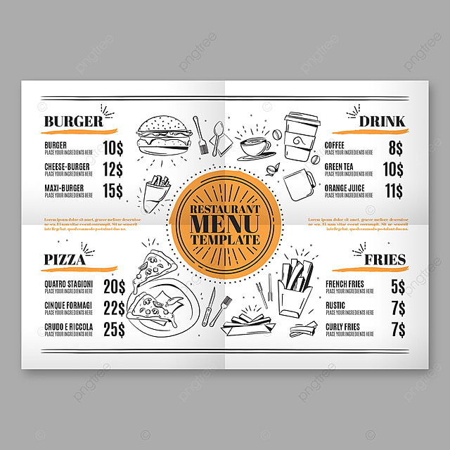 fast food menu template template for free download on pngtree