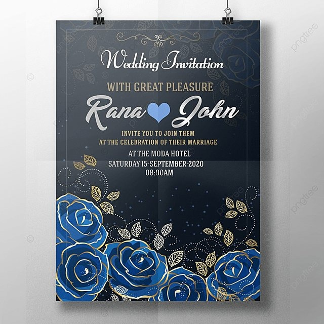 royal blue wedding invitation template for free download