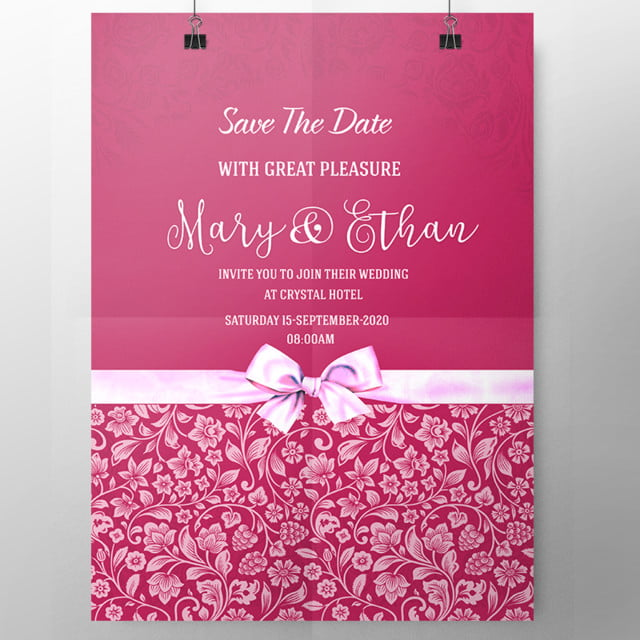 pink with bow wedding invitation template