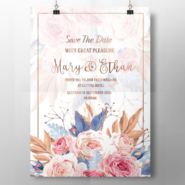 lovely watercolor wedding invitation template for free download on