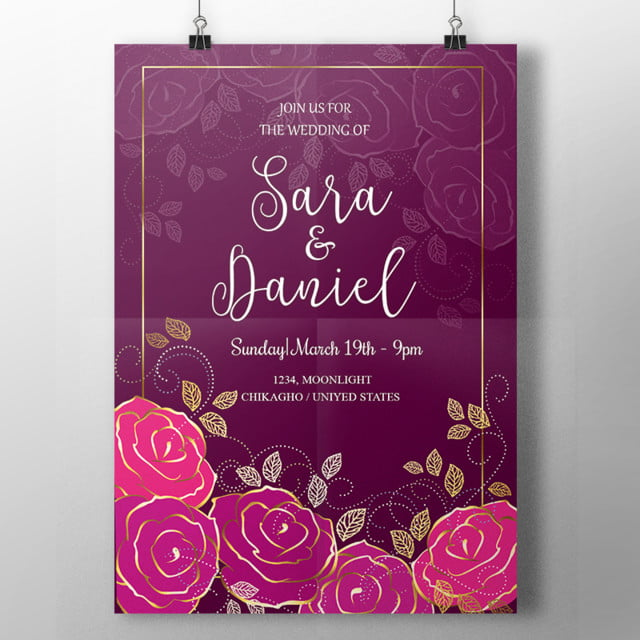 Roses And Calligraphy Wedding Template For Free Download On Pngtree