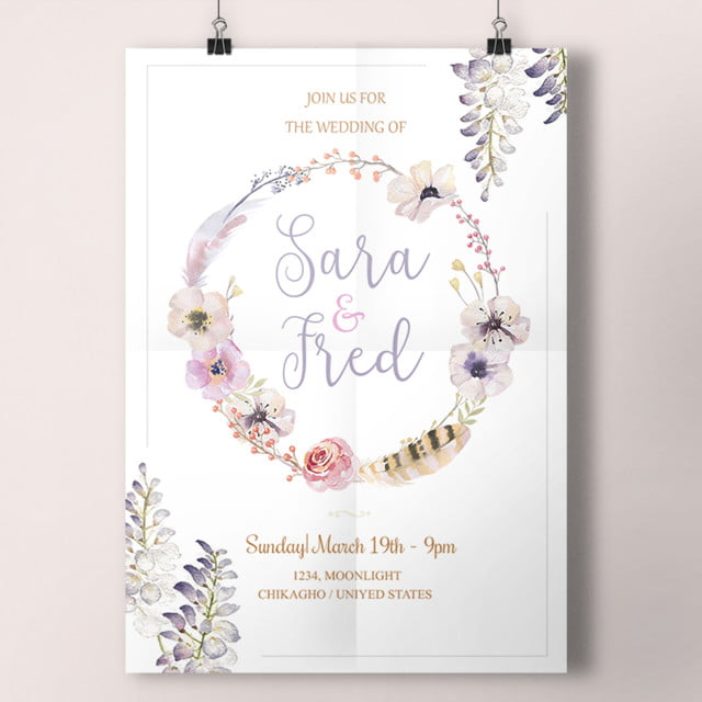 Simple Lavender Wedding Card Template For Free Download On Pngtree - Simple wedding card template