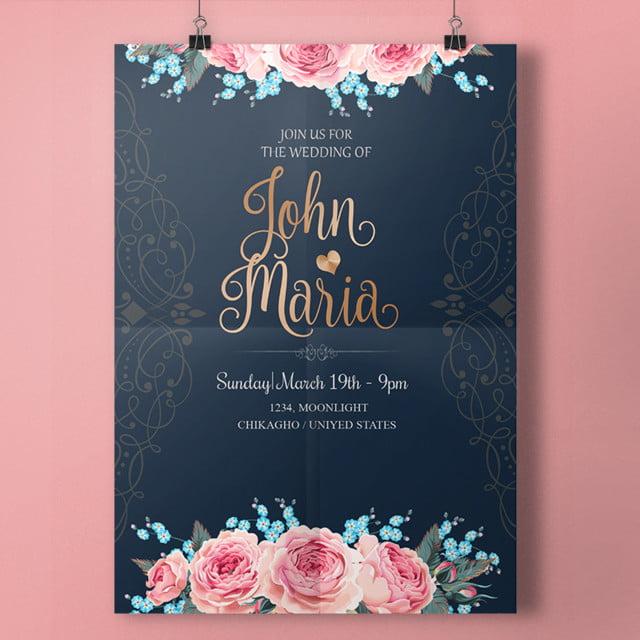 Royal Wedding Invitation With Script قالب تحميل مجاني على