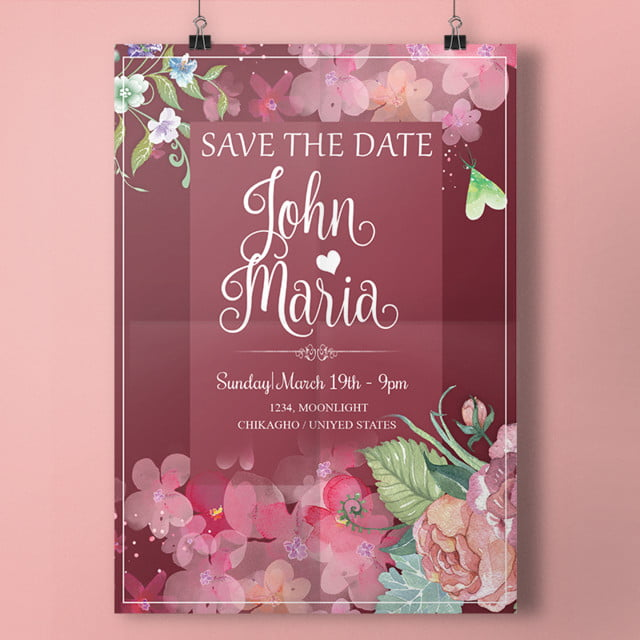 Wedding Invitation Flowers With Maroon Colors Wedding Menu