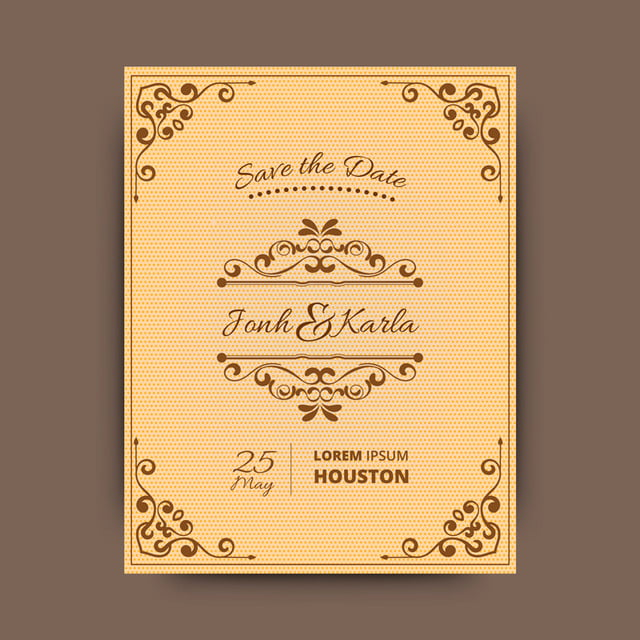 Wedding card with ornament style borders template free download on wedding card with ornament style borders reheart Choice Image