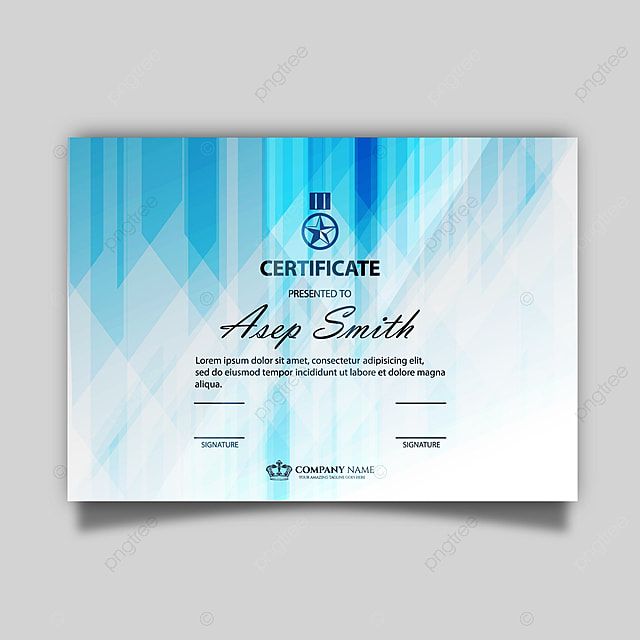 Certificate Template With Blue Shape Template For Free Download On